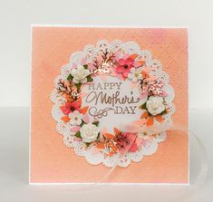 Handmade Mothers Day Card, Wreath Card, Card for Mom, Rose Gold Wreath, Grandma Mothers Day, Flower Wreath, Mothers Day Flowers, Mom Wreath