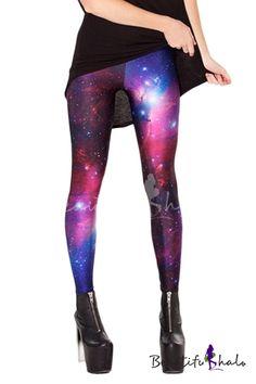 28a754357ca9d Purple Starry Sky Print Full Length Elastic Leggings Long Pants