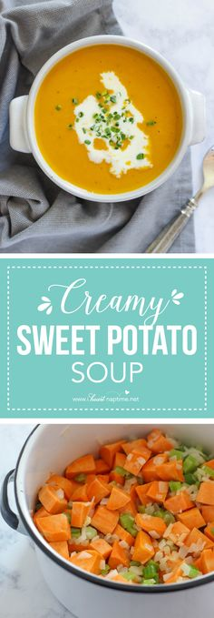 Creamy Sweet Potato Soup - A hearty and easy main dish soup recipe that's perfect for colder weather. This sweet potato soup is a delicious vegetarian recipe everyone will love! Easy Soup Recipes, Vegetarian Recipes, Cooking Recipes, Dinner Recipes, Healthy Recipes, Healthy Soups, Vegetarian Soup, Whole30 Recipes, Pumpkin Recipes