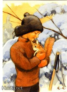 A friend. by artist Rudolf Koivu -- (winter, illustration, art, boy, squirrel) Art And Illustration, Christmas Illustration, Vintage Illustrations, Inspiration Art, All Nature, Vintage Christmas Cards, Vintage Children, Childrens Books, Illustrators