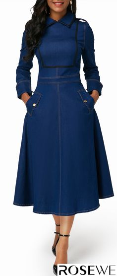 Dresses For Women Modest Dresses, Cute Dresses, Casual Dresses, Denim Dresses, African Fashion Dresses, African Dress, Modest Fashion, Fashion Outfits, Womens Fashion