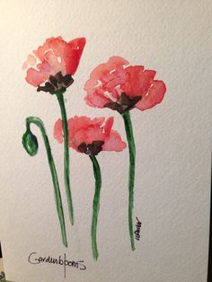 Poppies Watercolor Card    I have painted this poppy watercolor card, with hopes of spring in mind. I am dreaming of Spring at my house. The weather