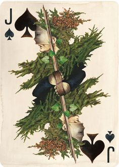 """Hand painted Jack Of Spades from Uusi's new card deck """"Pagan""""."""