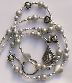 Necklace Lanyard Badge Holder | Silver Beaded Lanyard Id Badge Holder Id by zoeybeadedbeauties