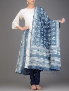 Buy Indigo White Dabu printed Tussar Silk Dupatta Dupattas Online at Jaypore.com