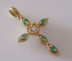 9ct Gold Emerald and Diamond Heart Cross Pendant by Britishgoldandsilver on Etsy