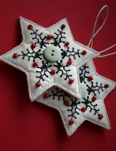 handmade ornaments #handmade #christmas #ornaments #embroidered #beads #stars