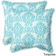 Pillow Perfect 'Luminary' Outdoor 18.5-inch Throw Pillows (Set of 2) (Turquoise), Blue (Fabric, Damask), Outdoor Cushion