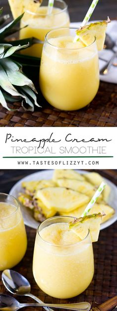PINEAPPLE CREAM TROPICAL SMOOTHIE on MyRecipeMagic.com/home/recipes. Sweet, creamy and tangy, this Pineapple Cream Tropical Smoothie with pineapple and a hint of orange is sure to refresh you on a hot summer day.
