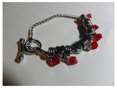Silver Charm Bracelet with Red swarovski crystals