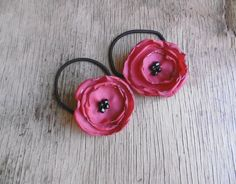 Red Poppy Flower Ponytail Holder Floral Tie Back in Yellow And Black Set of 2 Hair Bands by FairytaleFlower on Etsy