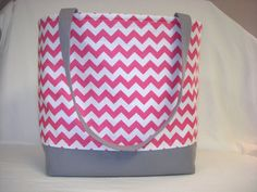 Hot pink and white chevron tote bag with gray by mollyandlucy, $36.00
