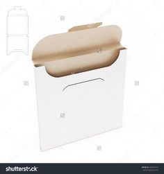 Empty White Square Slim Dispenser Box With Blueprint Layout Stock Photo 290224742 : Shutterstock
