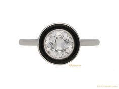 Diamond and onyx ring, circa 1920.
