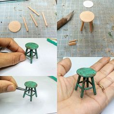 barbie doll house diy furniture Mini Furniture for dolls houses Hot glue fire painted with glass paint. Modern Dollhouse Furniture, Diy Barbie Furniture, Miniature Furniture, Furniture Legs, Garden Furniture, Furniture Design, Barbie Furniture Tutorial, Miniature Chair, Tiny Furniture