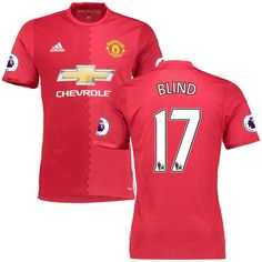 Daley Blind Manchester United adidas 2016/17 Authentic Home Jersey - Red