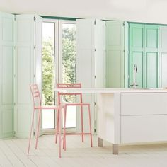 How to decorate with colour, why green and pink is the perfect combination, especially green shutters from www.redonline.co.uk