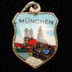 Munich Munchen Charm Vintage 800 Silver Enamel Travel Shield | eBay