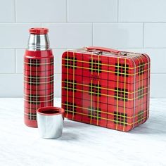 Thermos Red Plaid Metal Lunch Box