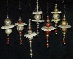 ~~7  zauberhafte  Gablonzer  Ornamente mit leonischen Drähten um 1950~~