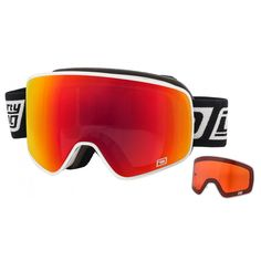 FRAMELESS Ski Goggles: Dirty Dog 'MUTANT' Interchangeable Ski/Snowboard Goggles - White Frame with Red/Yellow Lenses
