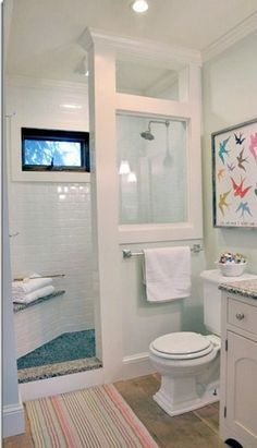 Before and After Farmhouse Bathroom Remodel 2019 LOVE this idea! Doorless shower modern farmhouse cottage chic love this shower for a small bathroom The post Before and After Farmhouse Bathroom Remodel 2019 appeared first on Shower Diy. Bathroom Renos, Budget Bathroom, Loft Bathroom, Modern Bathroom, Bathroom Small, Downstairs Bathroom, Tiny Bathrooms, Shower Bathroom, Shower Window