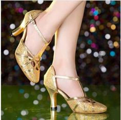 Brand New 2017 Gold Silver Women Ballroom Tango Salsa Latin Dance Shoes / High Heels Cheap Closed Toe Salsa Shoes Red High Heel Shoes, Cute High Heels, High Heels Stilettos, Latin Dance Shoes, Dancing Shoes, Salsa Shoes, Frauen In High Heels, Tango, Womens High Heels