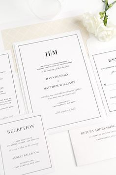 Champagne Wedding Invitations with a Modern Monogram