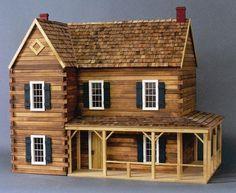 "Rustic Dollhouse Kit Model # L-1781 Wall Finish: Log 37""W x 22""D x 32""H 1""=1' scale 12 rooms"