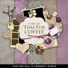 Far Far Hill - Free database of digital illustrations and papers: New Freebies Kit - Time for Coffee