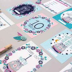 Alice Perry | Flora bear baby milestone cards NOTHS