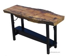 Maple Slab Table with dovetail key and black base.