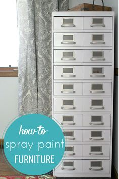 Do you have a large furniture piece you want to spray paint? Well, it's a challenge. I found this awesome library cabinet organizer at a garage sale and learned so much about how to spray paint furniture. In fact, I used a simple trick to get the large Spray Paint Furniture, Large Furniture, Painted Furniture, Furniture Refinishing, Furniture Redo, Furniture Ideas, Garage Interior, Garage Renovation, Spray Painting