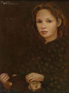 Girl with doll -- by Ellis Tertoolen (b.1951, Dutch)