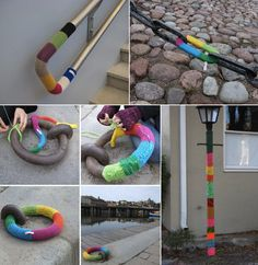 ya yarn bombing!! Finally something I can do with yarn since I cannot knit or crochet.
