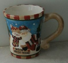 JcPenney Home Collection Santa & Snowman Christmas Holiday Coffee Cup Mug