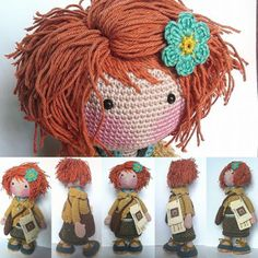 This Pin was discovered by Hei Crochet Doll Tutorial, Crochet Doll Pattern, Crochet Toys Patterns, Amigurumi Patterns, Crochet Crafts, Doll Patterns, Crochet Projects, Crochet Eyes, Crochet Girls