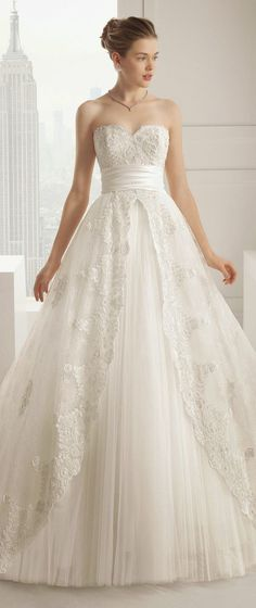 Rosa Clara Aline Lace Wedding Dress / http://www.deerpearlflowers.com/lace-wedding-dresses-and-gowns/3/
