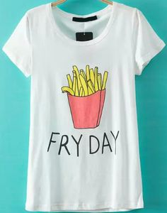 Buy Fries Letter Print T-shirt from abaday.com, FREE shipping Worldwide - Fashion Clothing, Latest Street Fashion At Abaday.com
