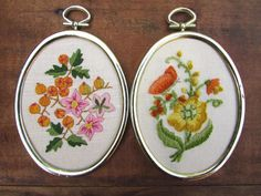 Crewel Embroidery Flowers Framed Vintage Your Choice of ONE | Etsy Orange Butterfly, Yellow Daisies, Crewel Embroidery, Oval Pendant, Flower Frame, Embroidered Flowers, Pansies, Different Styles, Purple