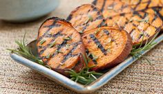 Grilled Sweet Potatoes With Rosemary.   Sweet potatoes are naturally low in fat and calories, high in fiber and anti-oxidants. The Center for Science in the Public Interest ranks them #1 in nutritional value among vegetables. They have a lower glycemic index than white potatoes, which makes them a healthier choice. They are, however, fairly carbohydrate-dense, so they do affect the glycemic load of any meal in which they appear. Bottom line: Eat them in moderation.