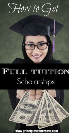 How to Get Full Tuition Scholarships Debt free college is possible. There is a way do college without student loans. Find out how to find and qualify for full-tuition scholarships! – College Scholarships Tips Grants For College, Financial Aid For College, College Planning, Online College, College Hacks, Education College, College Life, Money For College, College Invest