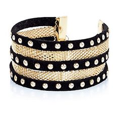 Black stacked studded bracelet