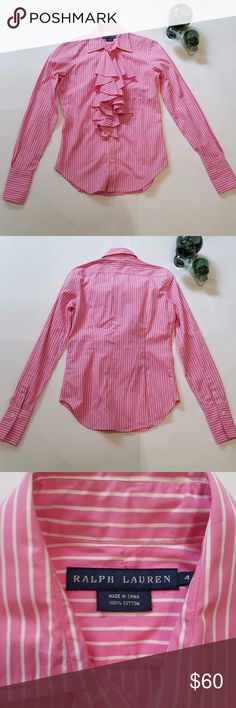 NWOT Ralph Lauren Women's Ruffle Shirt Size 4 Ralph Lauren Women's Ruffle Shirt Size 4 Colour Pink & White Stripes Buttoned Down With Ruffles On Front Measurements: Shoulder To Shoulder 14 Inchs Bust 18 Inchs Waist 16.5 Inchs Length 26.5 Inchs Arms 26.5 Inchs NWOT Ralph Lauren Tops Button Down Shirts