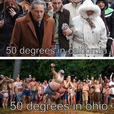 California vs Ohio weather :)