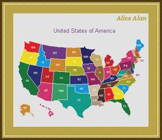 USA State Maps Cross Stitch Chart Series Sue Hillis Travel Map - Us map patterns