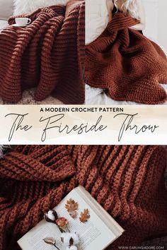Chunky Crochet Cozy Throw Blanket Crochet Pattern by Darling Jadore Crochet Cozy, Chunky Crochet, Crochet Crafts, Crochet Projects, Afghan Crochet Patterns, Knitting Patterns, Crochet Afghans, Knitted Blankets, Crochet Throws