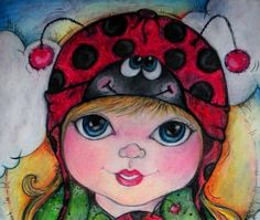 Lady bug tricks....silly smiles & polka dots. Love the BiG eyed girl.