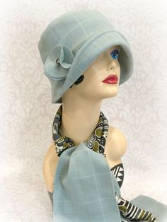 1920's Cloche - The Eleanor in Aqua Plaid - Matching Scarf