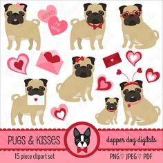 Pug Valentine Clipart Set - Commercial Use, Vector Images, Digital Clipart, Digital Images